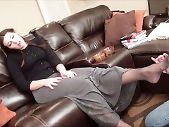 Conservative girl gets her feet licked well  lesbian foot worship