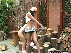 Cartoon teen Cutting wood and licking pussy