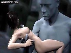 3D animasyon kız öğrenci bir dev tarafından dokundu ve parmaklı oluyor