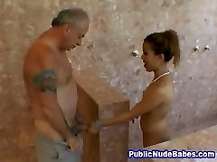 Japanese Blowjobs Elder Man In Public Shower