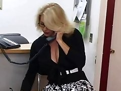 Mature assistant gets cum on her massive tits