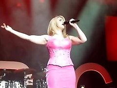 Beatrice Egli Pink Mini Dress Upskirt Twat On Stage Oops
