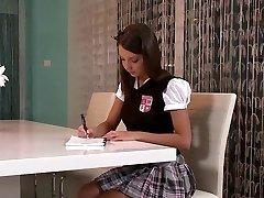 Brunette Schoolgirl Makes Up For Bad Grade.mp4