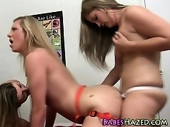 Lesbo teen gets strapon