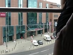 Demonstrating Tits and Gaping Arsehole on Balcony to Public