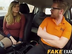 Curvy UK scum Madison Stuart banged at driving college car