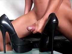 My large cumshot on fetish platform Heels