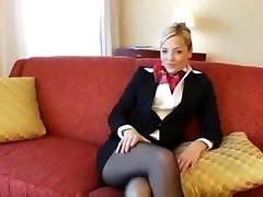Light-haired Pantyhose stewardess fuck and facial