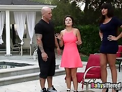 Babysitter gets tag teamed by hubby and wife