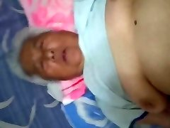 White-Haired Chinese Granny Enjoying Bang-out