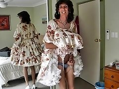 Crossdresser michelle toying in floral frock