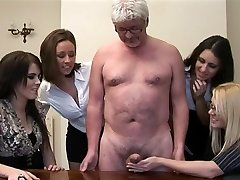 Women give handjob to a perv old guy