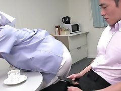 Uber-cute Japanese maid displays her big tits while sucking two dicks (FMM)