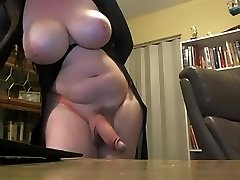 Busty trans with big hard cock on web cam