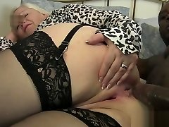 Old lady takes it in the booty by black cock