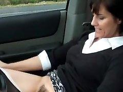 Killer milf masturbates in car