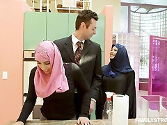 Big breasted lustful hijab nympho Ella Knox gets hairy pussy banged mish
