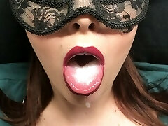 Subordinated, slow deepthroat moaning blowjob, mouthful of cum - custom video