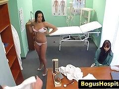 Patient walks in on doc pussy fucking nurse