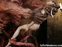 3D Terrifying Aliens Fuck Scanty Girls!