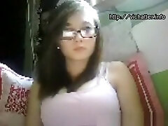 Young Teenage With Glasses Bating On Cam