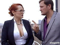 Jaw dropping French cougar Emy Russo seduces new secretary and licks her yummy slit