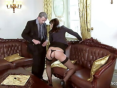 Anorexic Teenie Seduce to Raunchy Anal Sex by Boss in Office
