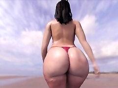 큰 엉덩이 해변에 산책
