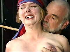 Cute young blonde with puffy bumpers is restrained for nipple clamp play