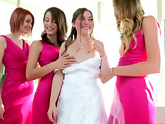 Enthralling bride takes part in steamy foursome lesbian sex