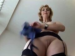 Mature English blonde babe in pantyhose upskirt tease