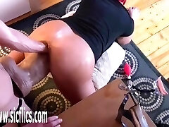 Double Fist and Gigantic Fuck Stick Fucked Pussy