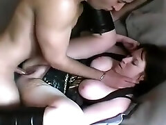 Mature fattie is anal and cunt fucked from the rear