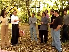 hot brunette hard anal gang-fuck and bukkake by many cocks