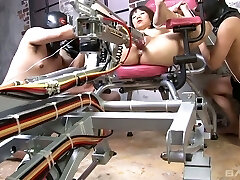 Several dudes fuck naughty Chinese chick tie sup to a gyno chair