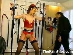 Rough whipping and slave sex of tied up amateur subordinated in latex fetish