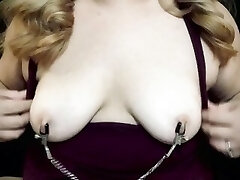 Amateur Mega-bitch Playing With Nipple Clamps