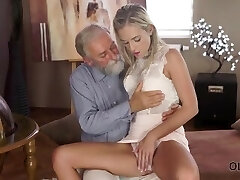 Old4K. Shanie Ryan finally attempts dick of her Geography teacher
