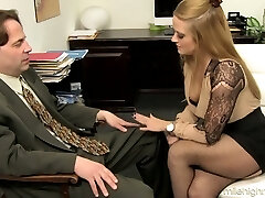 Office whore Holly Heart takes off bra and mini-skirt and lures one kinky man