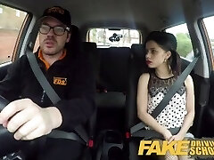 Fake Driving School Tough back seat fuck for small infatuated learner
