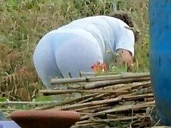Spying Mom Butt - Obese Plumper Granny - Mature Ass Rump
