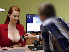 LOAN4K. Red-haired woman with astounding forms needs...