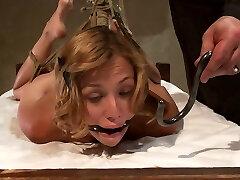Defenseless Blonde In Hogtie Struggling Through Orgasm After Orgasm. - HogTied