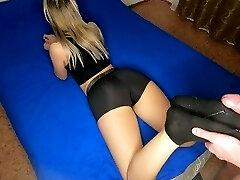 Fucks the legs in socks of a young schoolgirl in short sports cutoffs. Amateur sole fetish