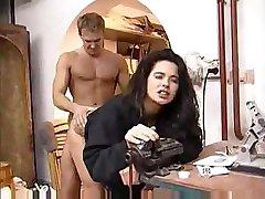 Angelica Bella screams in pleasure as a fat dick enters her hairy crack