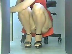 Voyeur sexy Secretary in Office