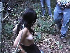 Dogging wife sucks off many guys in the woods
