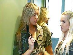 Blondes in uniform catch a cock