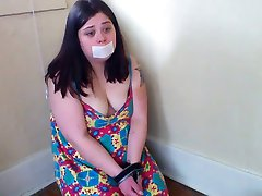 Handcuffed Chubby Slut Gagging on Cock