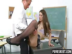 Petite schoolgirl babe takes a big cock in her